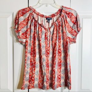 Chaps Multicolored Short Sleeve Top/Size L